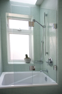Glass shower installation with hinge
